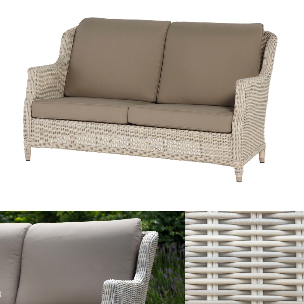 gartenbank 4seasons brighton provance 2er sofa geflecht rattan mit kissen vom garten. Black Bedroom Furniture Sets. Home Design Ideas
