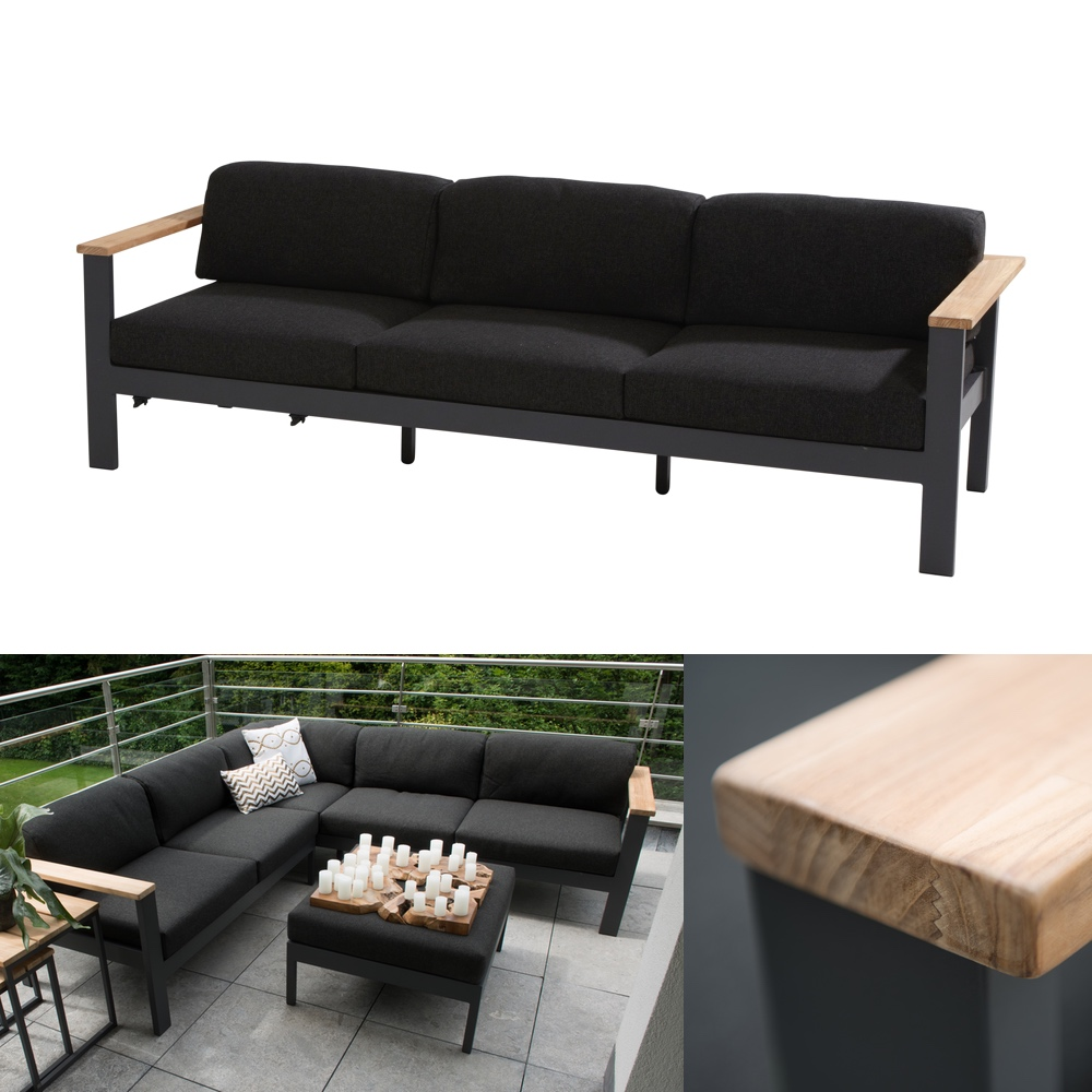 gartenbank 4seasons orion 3er sofa couch teak mit kissen gartenm bel fachhandel. Black Bedroom Furniture Sets. Home Design Ideas