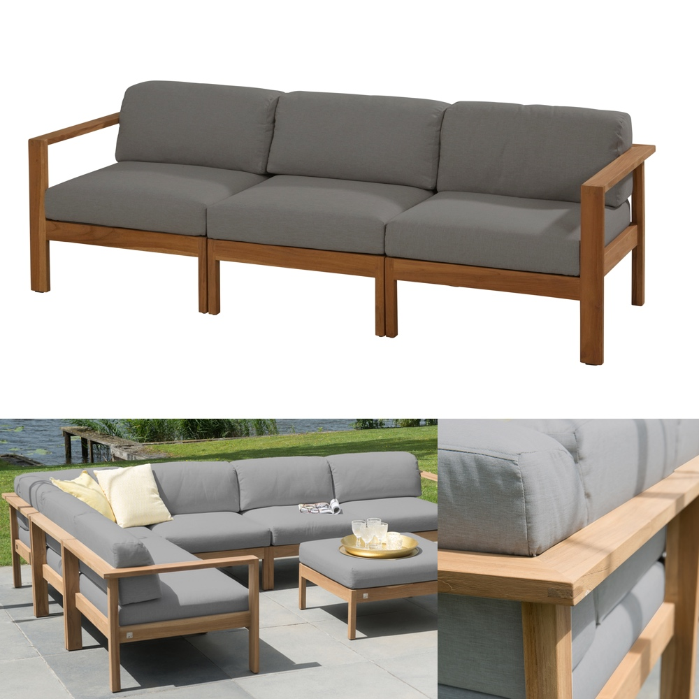 gartenbank 4seasons lido teak 3er bank teakholz kissen gartenm bel fachhandel. Black Bedroom Furniture Sets. Home Design Ideas