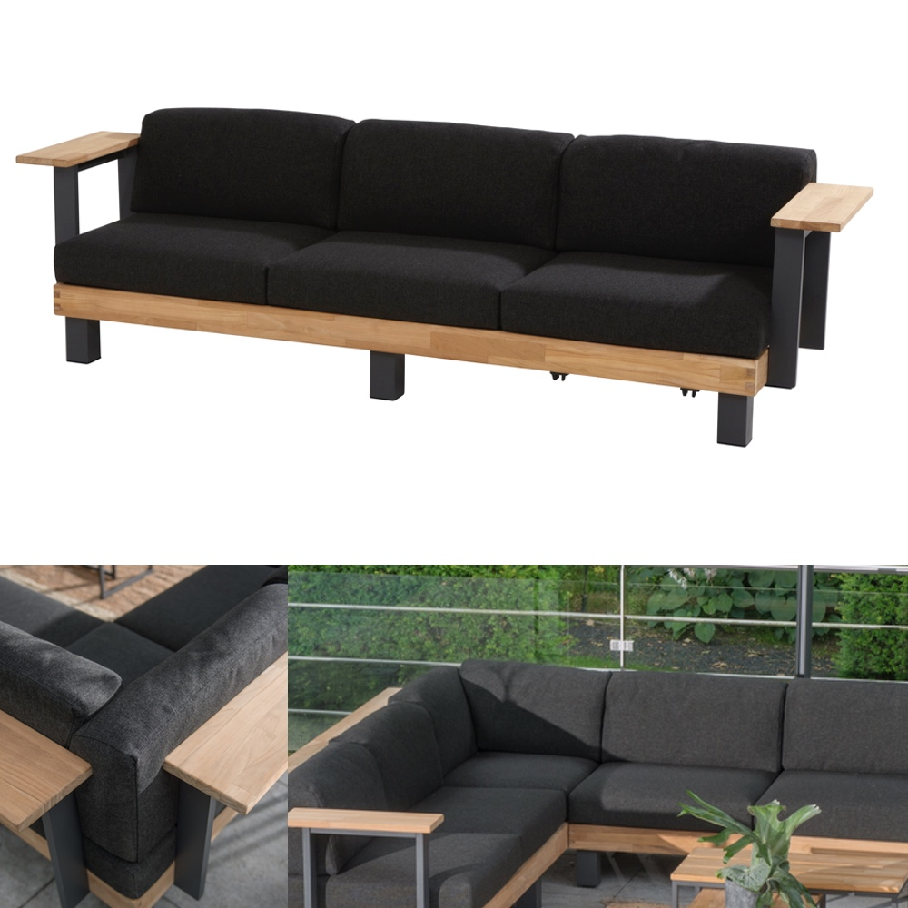 gartenbank 4seasons cordoba 3er sofa teakholz mit kissen aluminium gartenm bel fachhandel. Black Bedroom Furniture Sets. Home Design Ideas