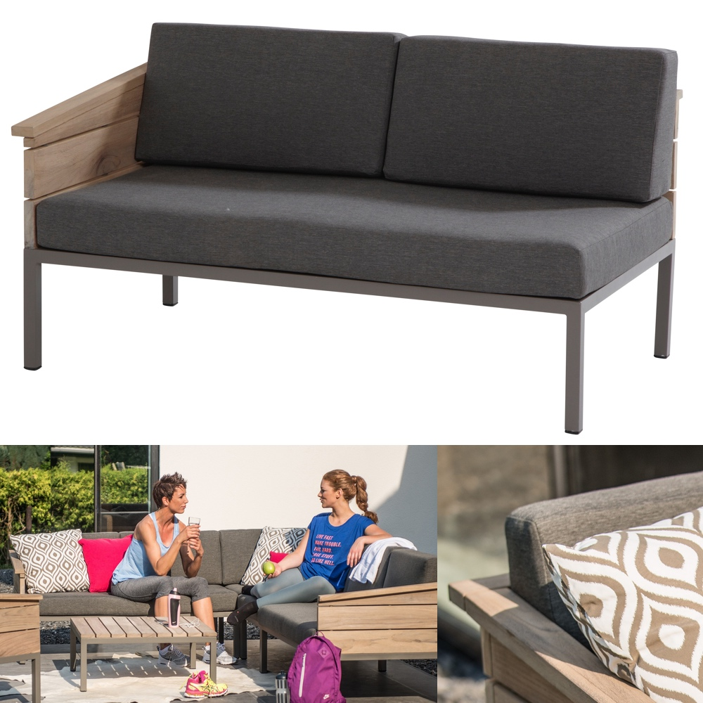 lounge 4seasons cava 2er bank endmodul armlehne rechts alumminium teakholz gartenm bel. Black Bedroom Furniture Sets. Home Design Ideas