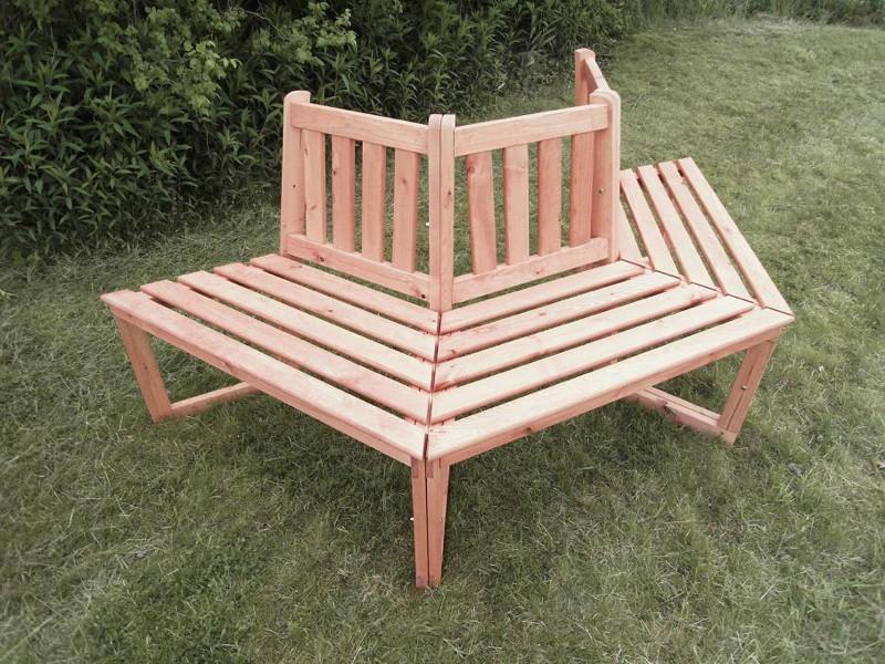 Baumbank Holz-Gartenbank Halbrunde Holzbank 3-Teiligfur