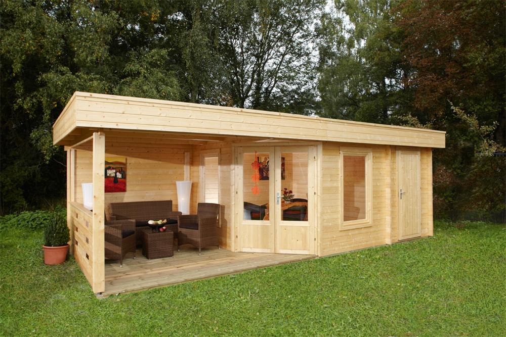 Gartenhaus Flachdach «453x299 Holzhaus 2 Raum Haus mit Terrasse 350cm»  Fünf-Eck | vom Garten-Fachhändler