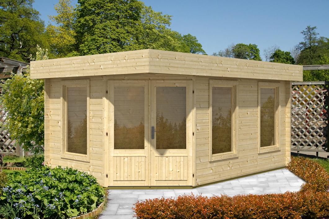 Gartenhaus Flachdach 453x299 Holzhaus Bausatz Mit Fenster Funf Eck