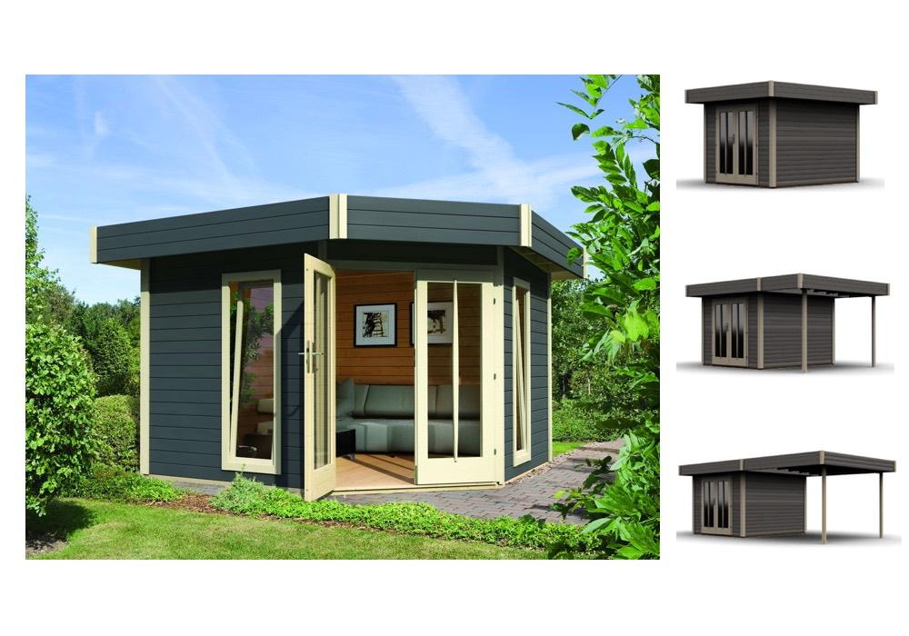 Gartenhaus-Flachdach KARIBU Corner Cube 2 Poolhaus mit Terrasse