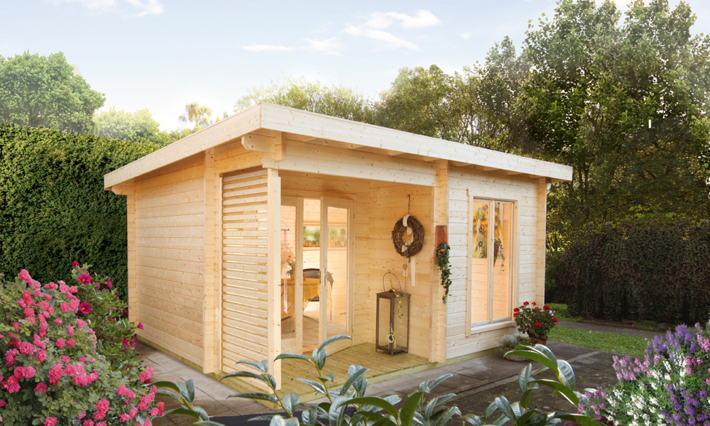 Gartenhaus Flachdach «450x330cm Holzhaus Bausatz 44mm Wandstärke» Modern |  vom Sauna-Fachhändler