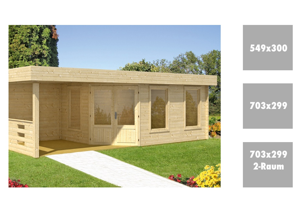 Gartenhaus Flachdach WOLFF Maja 40 mit Terrassenanbau F�nf-Eck Holz Haus Bausatz