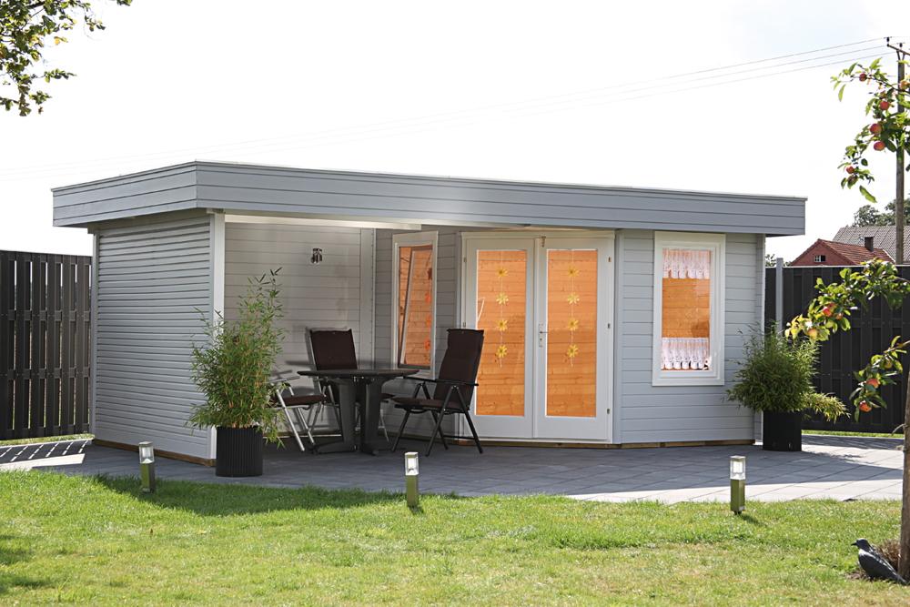 Gartenhaus Flachdach «280x280cm Holzhaus mit Terrassenanbau» Fünf-Eck Holz  Haus | vom Garten-Fachhändler