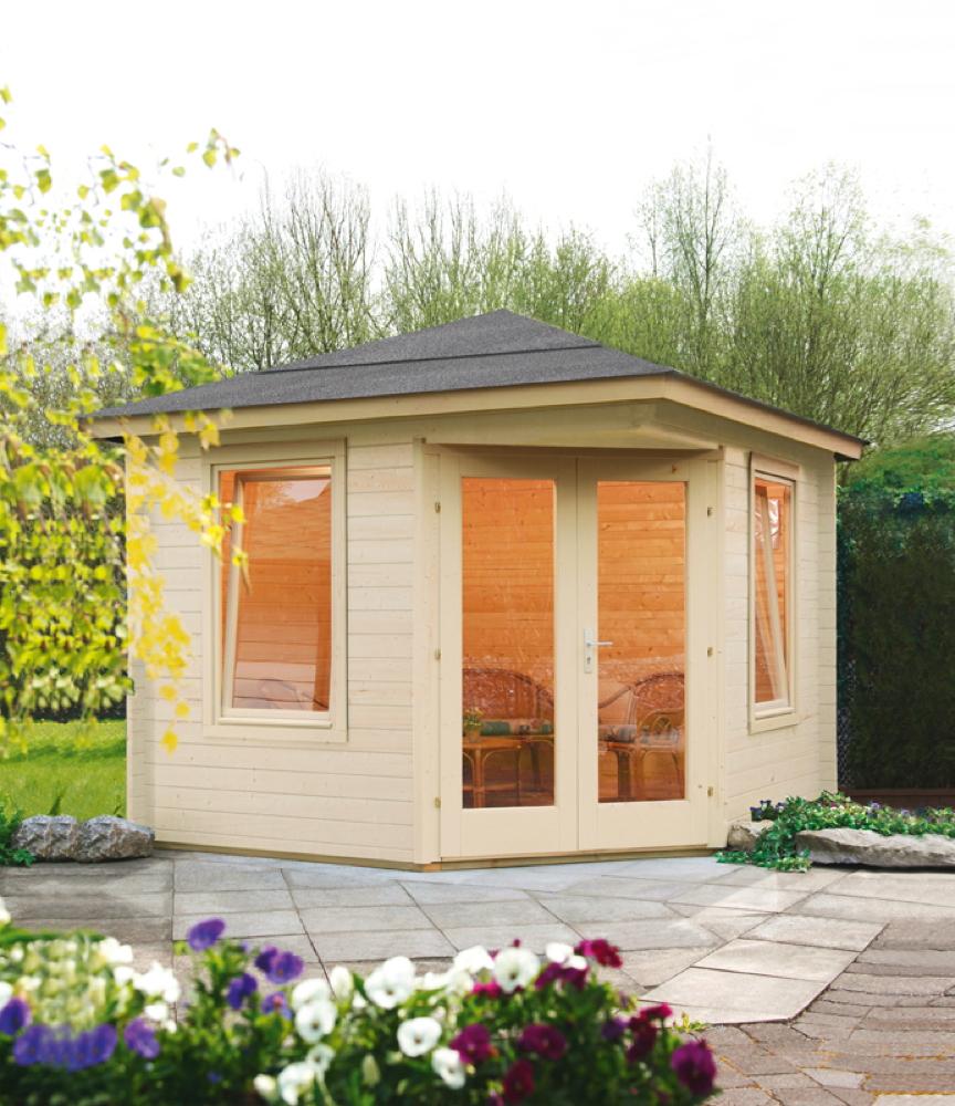 5-Eck-Gartenhaus «280x280cm Holzhaus Bausatz» Einzeltür mit Fenster | vom  Garten-Fachhändler