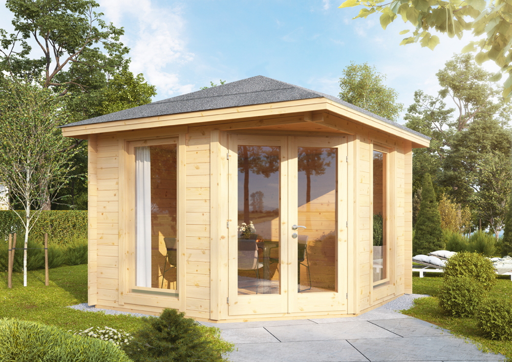 5-Eck-Gartenhaus 300x300cm Holzhaus Bausatz 58mm Doppeltür Gartenlaube