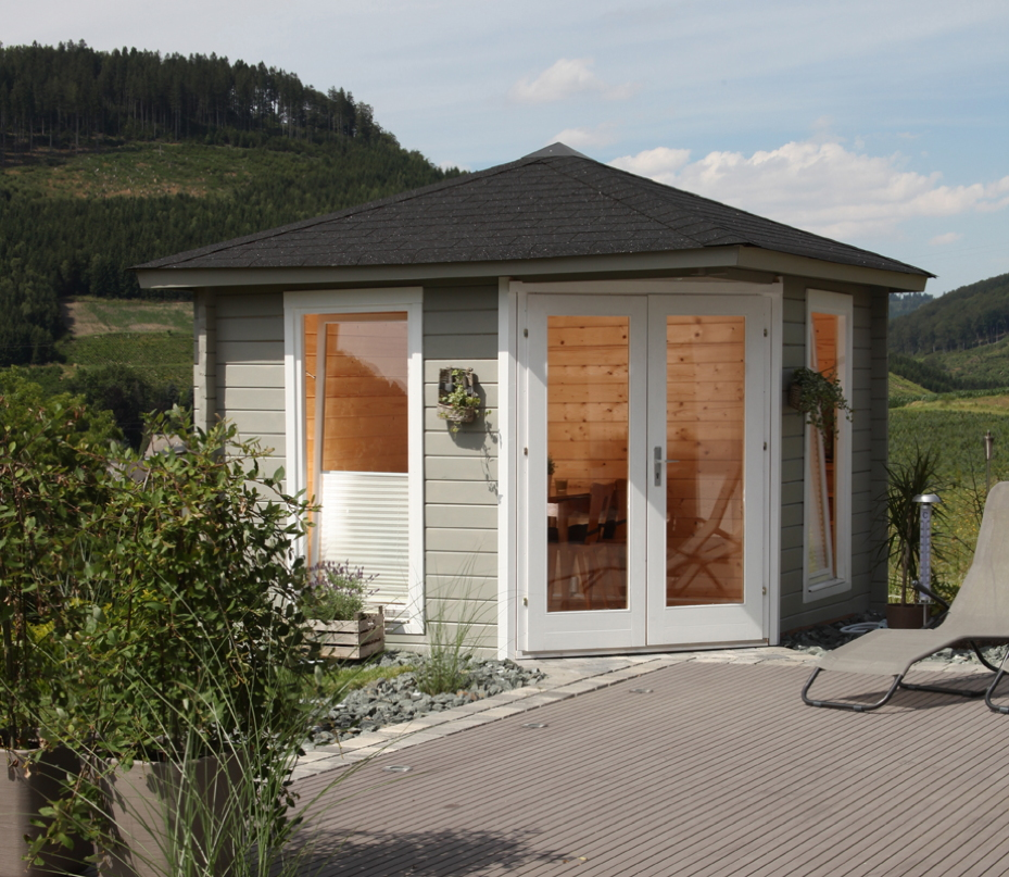 5 eck gartenhaus 300x300cm holzhaus bausatz 44mm doppelt r gartenhaus aus holz g nstig. Black Bedroom Furniture Sets. Home Design Ideas