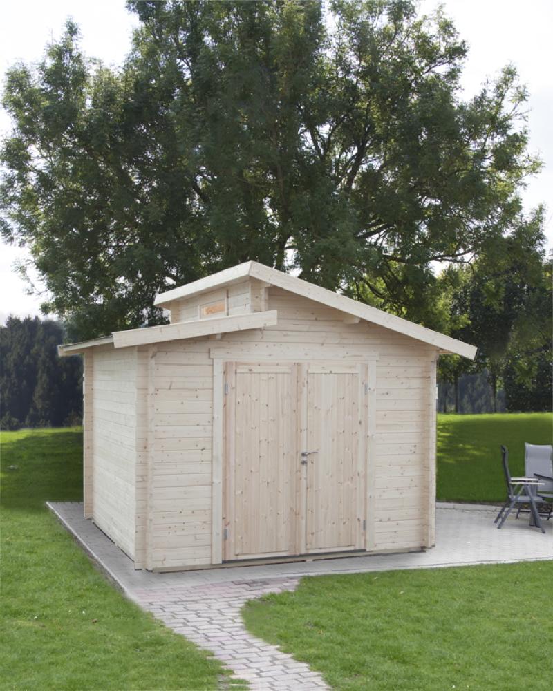 Super Gartenhaus Gerätehaus «300x300cm Stufendachhaus» Doppeltür 40mm EH82