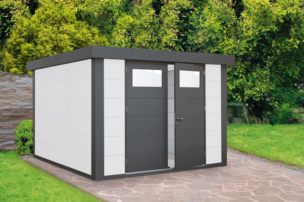 Gerätehaus Flachdach Metallgerätehaus «268x238 weiß» Doppeltür | vom  Garten-Fachhändler