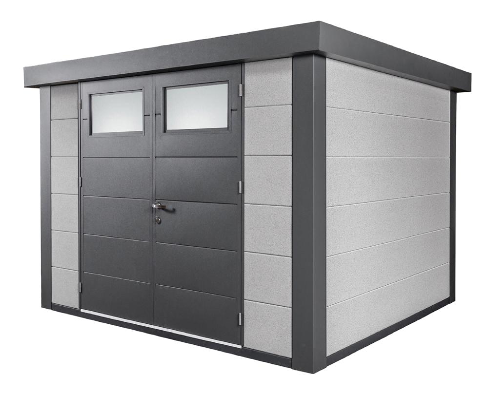 Gerätehaus Flachdach Metallgerätehaus 298x238 dekorputz Doppeltür