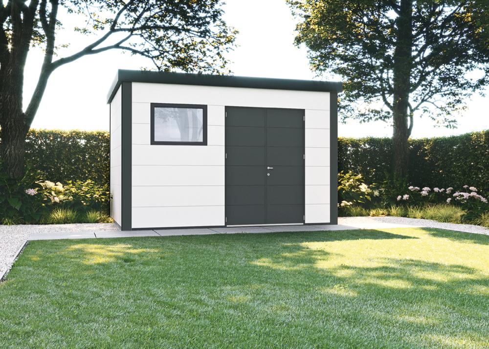 Gerätehaus Flachdach Metallgerätehaus «388x298 weiß» Doppeltür | vom  Garten-Fachhändler
