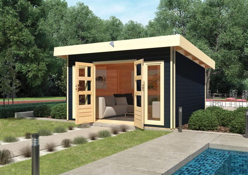 gartenhaus karibu tecklenburg holz haus bausatz flachdach gartenhaus aus holz g nstig kaufen. Black Bedroom Furniture Sets. Home Design Ideas