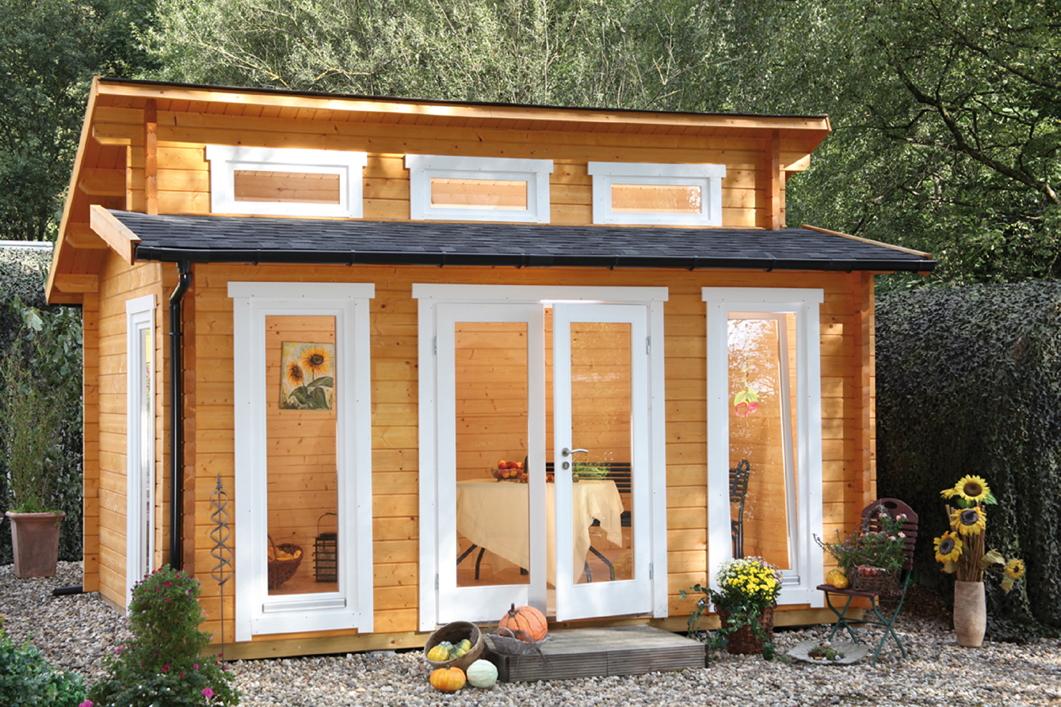Gartenhaus 440x320cm Holzhaus Bausatz 58mm isolierverglast Stufendach