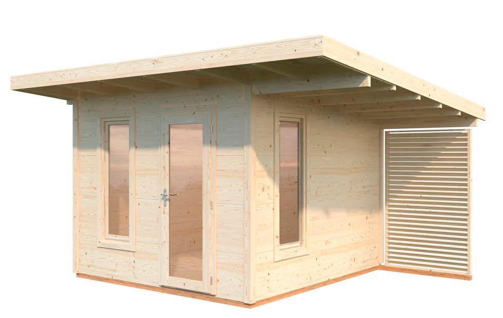 Gartenhaus Flachdach Holzhaus Bausatz natur 300x290cm kleinem seitlichen Anbau