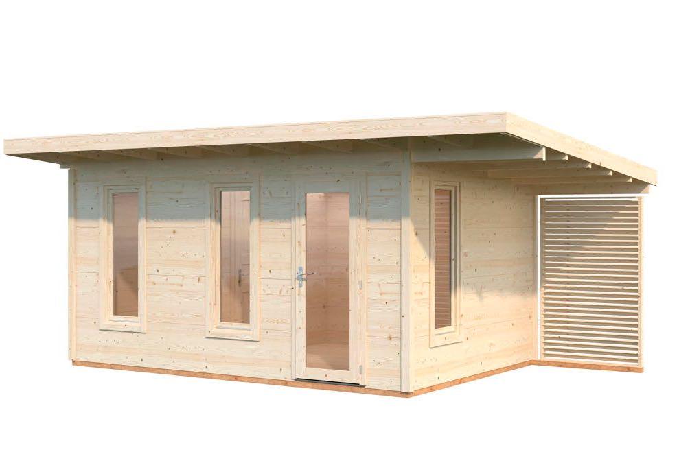 Gartenhaus Flachdach Holzhaus Bausatz natur 445x290cm kleinem seitlichen Anbau