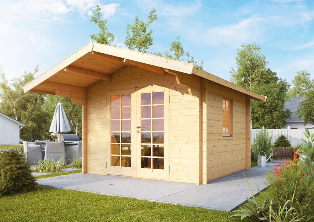 Gartenhaus «300x245cm Holzhaus Bausatz 44mm» Holz-Gartenhaus Doppeltür,  Fenster | vom Garten-Fachhändler