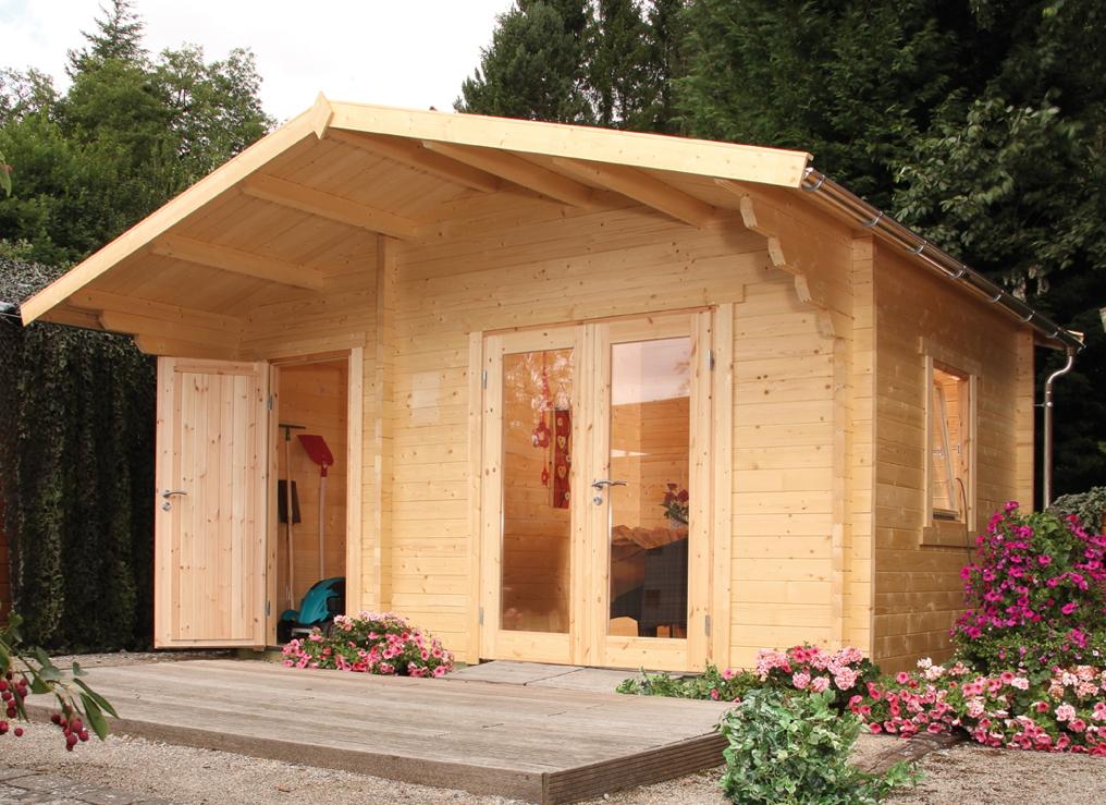 Gartenhaus 450x300cm holzhaus bausatz 34 mm modern 2 for Holz doppeltur gartenhaus