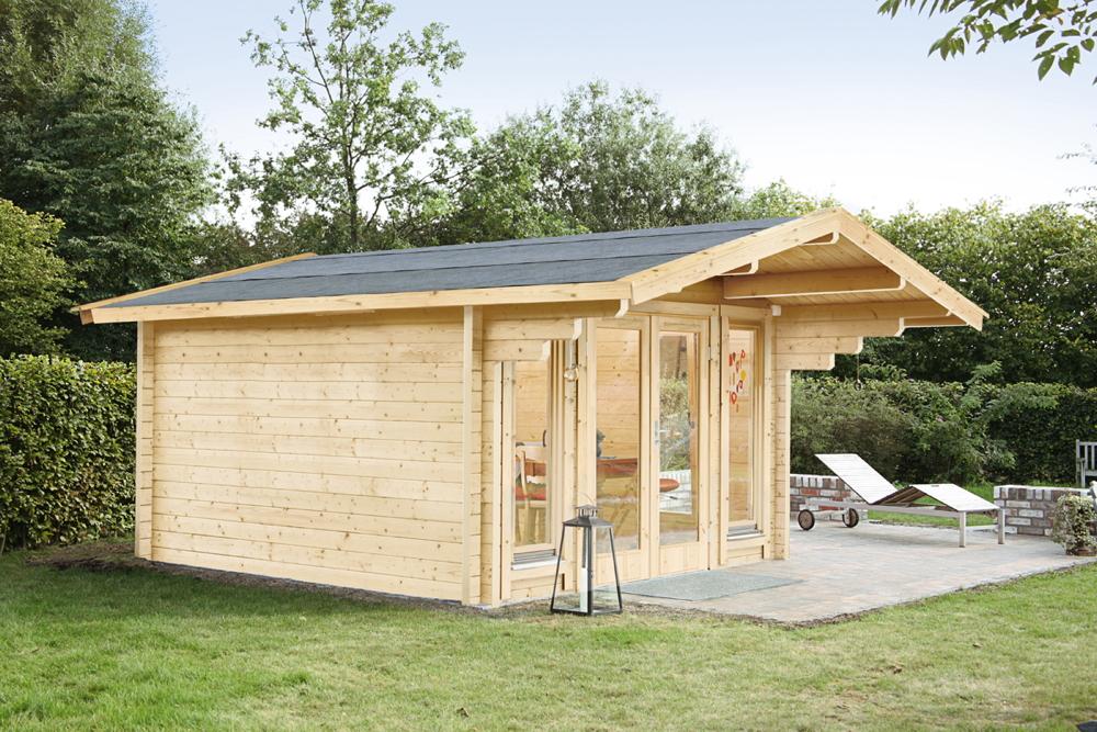 Gartenhaus «360x300cm» Holzhaus Bausatz 70mm Gartenlaube Doppelglastür |  vom Garten-Fachhändler