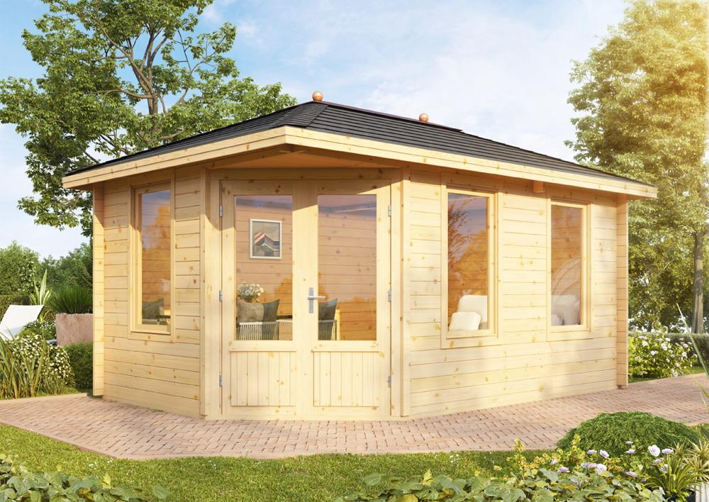 5-Eck-Gartenhaus «453x299cm Holzhaus Bausatz» Doppeltür mit Fenstern |  Gartenmöbel Fachhandel