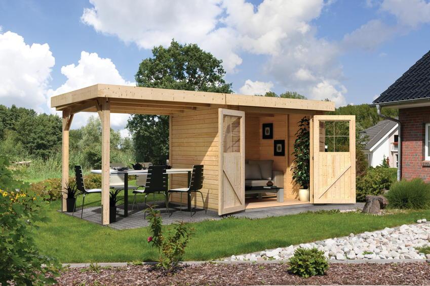 Gartenhaus Holz Mit Schleppdach ~ LIMBURG» Holz Haus Bausatz Gartenhaus Flachdach  Gartenhaus aus Holz