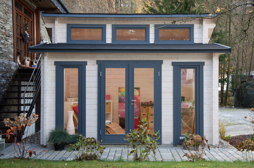 Gartenhaus «480x390cm Holzhaus Bausatz 58mm isolierverglast