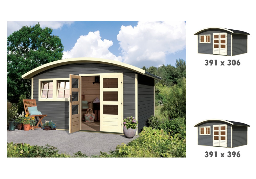 Gartenhaus KARIBU Friedland Holz Haus Bausatz rundes Dach