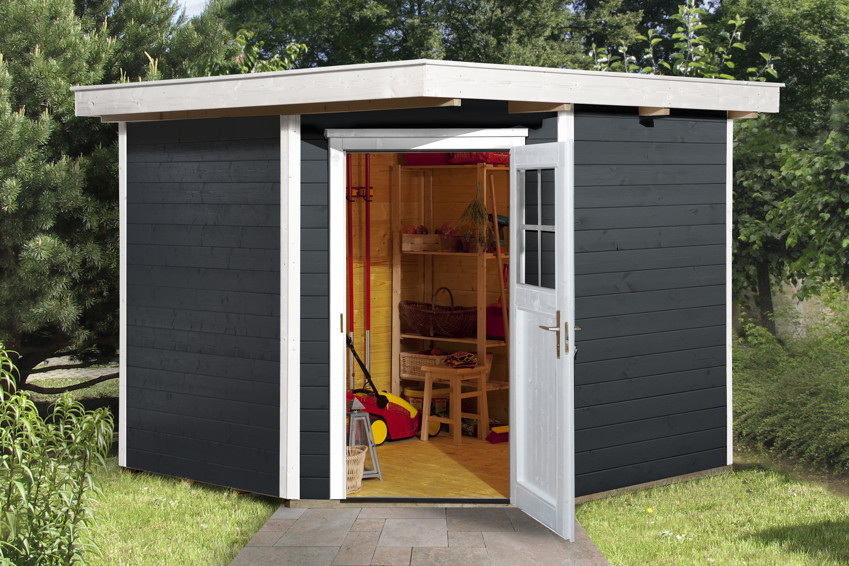 ger tehaus 5 eck flachdach gartenhaus holz haus bausatz. Black Bedroom Furniture Sets. Home Design Ideas