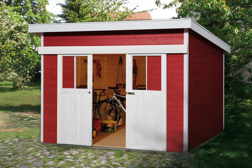 Schiebetür gartenhaus selber bauen  Gerätehaus Schiebetür-hHaus Flachdach Gartenhaus Holzhaus-Bausatz ...