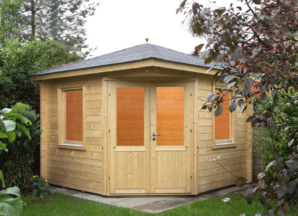 5-Eck-Gartenhaus «300x300cm Holzhaus Bausatz» Doppeltür 44 mm Wandstärke |  vom Garten-Fachhändler