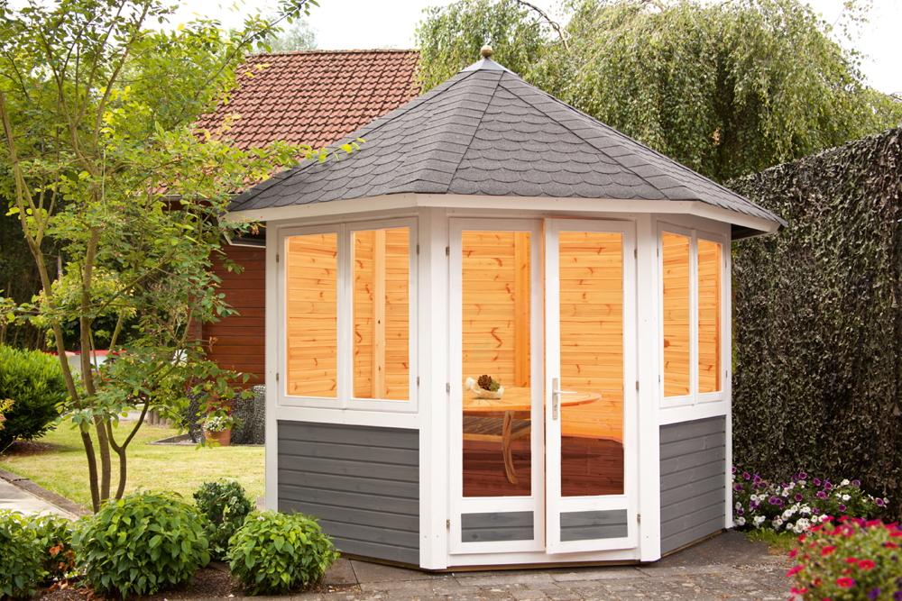 Premium Garten Pavillon Geschlossen 287x287cm 8 Eck Holz Pavillon