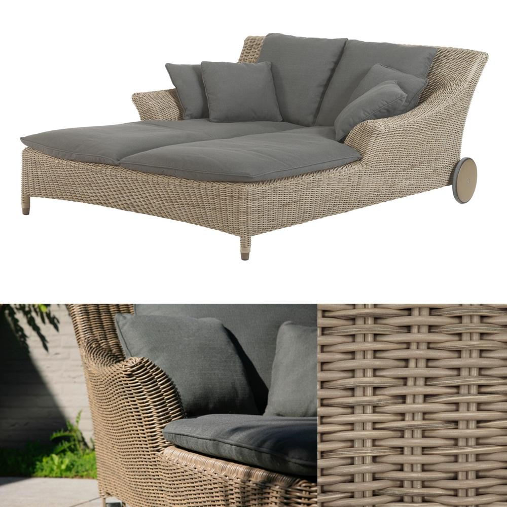 gartenliege 4seasons valentine pure doppelliege korbliege geflecht rollen gartenm bel. Black Bedroom Furniture Sets. Home Design Ideas