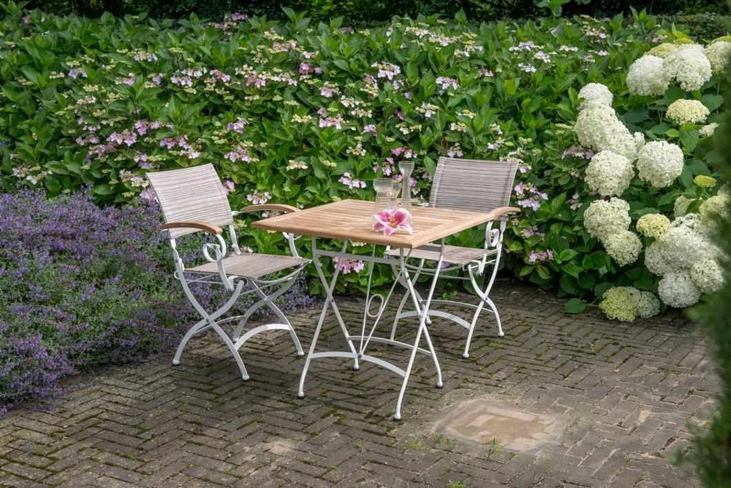 Gartentisch 4seasons Lindau Weiss 70x70 Biergartentisch Klapptisch Eisen Teak Gartenmobel Fachhandel