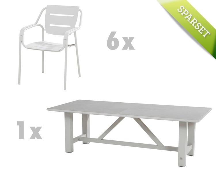 Gartenmöbelset 4SEASONS Eco seashell Dining-Set 2, Sitzgruppe Aluminium