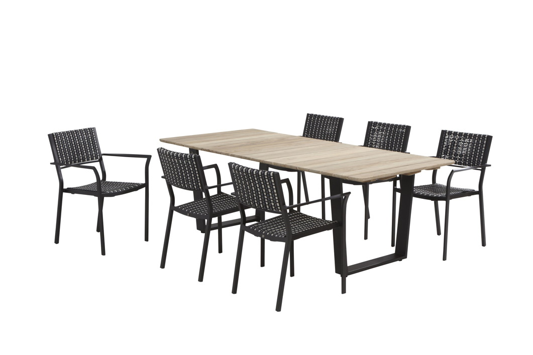 Gartenmöbelset 4SEASONS «Piazza schwarz» Dining-Set 1, Sitzgruppe ...