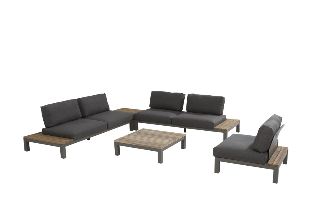 Sitzgruppe 4Seasons Fidji Gartenmöbelset 2, Loungeset Teakholz inkl. Kissen