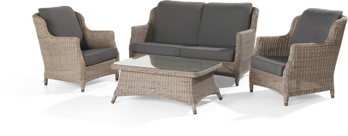 4SEASONS Brighton Sitzgruppe Loungegruppe mit Tisch 110x70cm, HULARO Faser