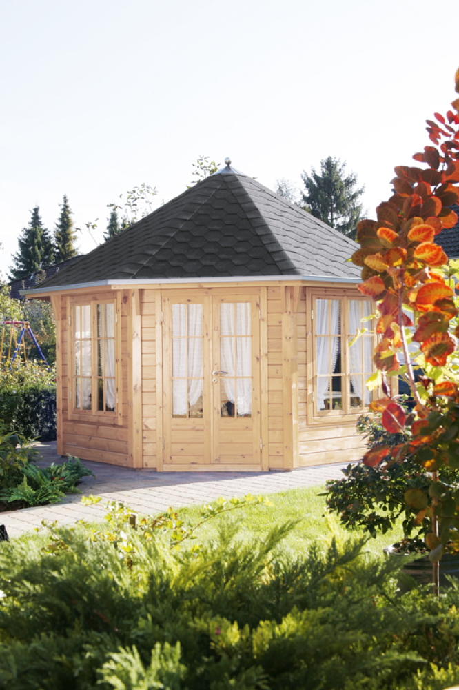 Holz-Pavillon 8-Eck-Gartenpavillon 4m Ø im Landhausstil