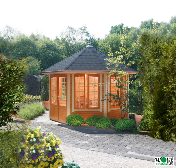 premium holz pavillon geshlossener 8 eck gartenpavillon parorama sprossen t r pavillon garten. Black Bedroom Furniture Sets. Home Design Ideas