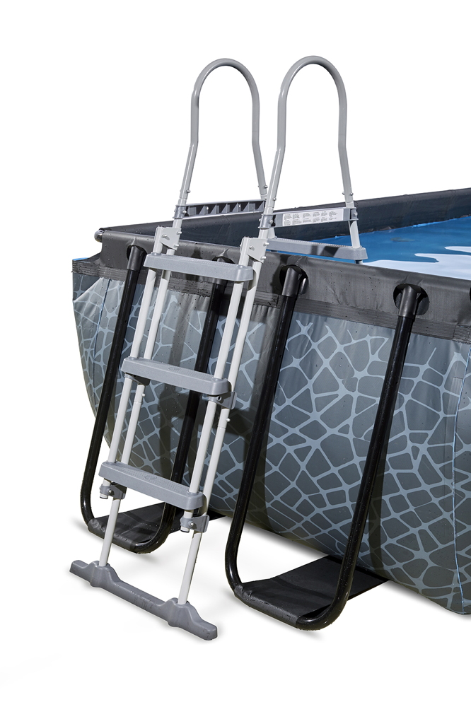 Rahmenpool schwimmbecken 4x2m frame pool grau swimmingpool mit sonnendach vom garten fachh ndler for Gartenpool rechteckig