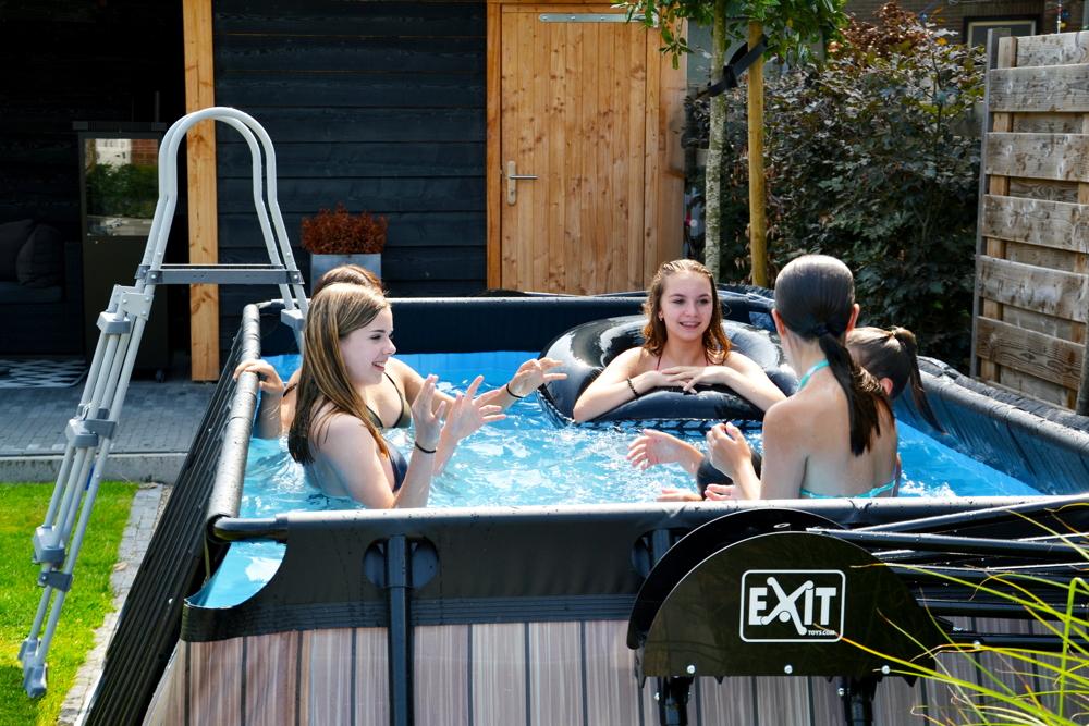 Rahmenpool eckiges schwimmbecken 5 4x2 5m frame pool braun gartenpool vom garten fachh ndler for Gartenpool rechteckig
