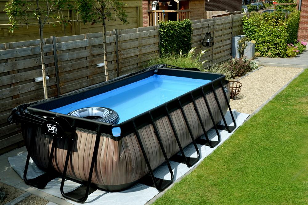 rahmenpool eckiges schwimmbecken xm frame pool braun