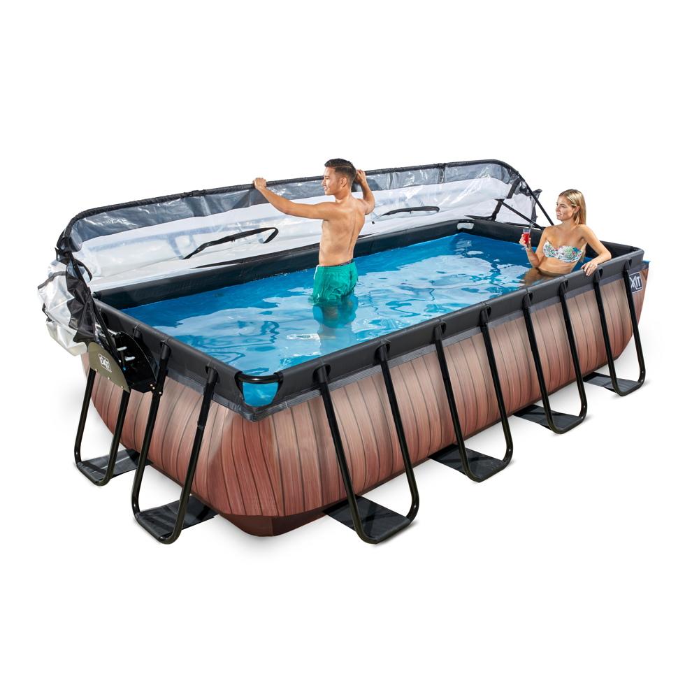 Rahmenpool schwimmbecken 4x2m frame pool braun for Swimming pool 4 eckig