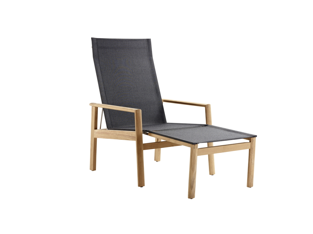 gartenstuhl solpuri safari deck chair mit hocker teakholz textilene gartenm bel fachhandel. Black Bedroom Furniture Sets. Home Design Ideas
