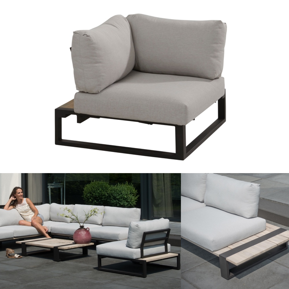 gartenstuhl 4seasons duke lounge eckelement aluminiumgestell teakholz kissen gartenm bel. Black Bedroom Furniture Sets. Home Design Ideas