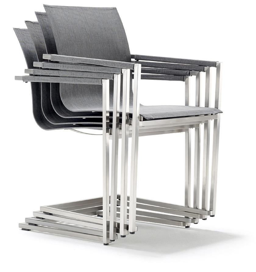 gartenstuhl solpuri pure freischwinger edelstahl textilene silver grey gartenm bel fachhandel. Black Bedroom Furniture Sets. Home Design Ideas