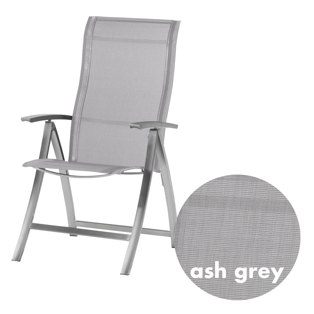 GroBartig Gartenstuhl 4SEASONS «Slimm Hochlehner Ash Grey» Klappsessel Edelstahl  Textilene
